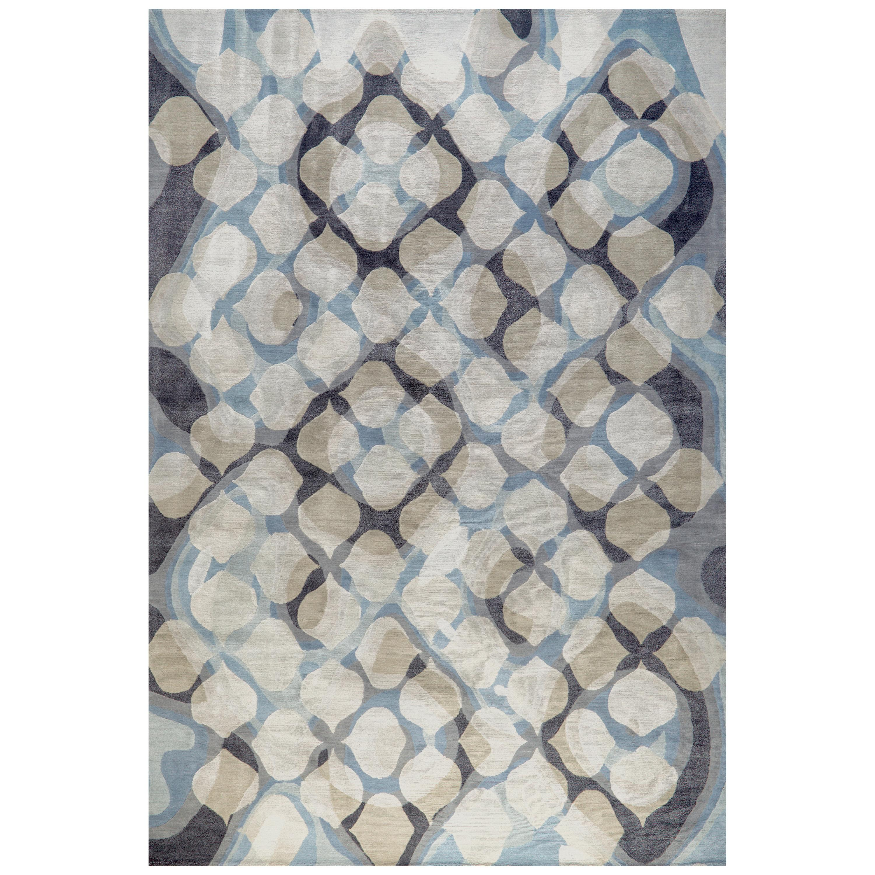"""Area Rug in Blue Black Contemporary, Handmade of Silk and Wool, """"Epic"""""""