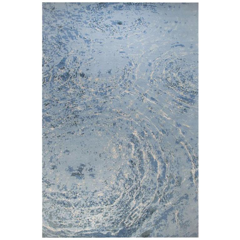 """Modern Contemporary Area Rug in Blue, Handmade of Silk and Wool, """"Oceans"""""""