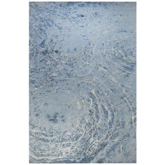 "Modern Contemporary Area Rug in Blue, Handmade of Silk and Wool, ""Oceans"""