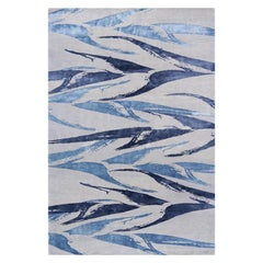 "Modern Contemporary Area Rug in Blues, Handmade of Silk and Wool, ""Heliconia"""