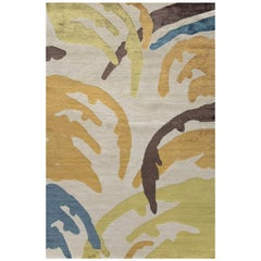 "Modern Contemporary Area Rug in Colors, Handmade of Silk and Wool, ""Whip"""