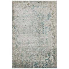 "Modern Contemporary Area Rug in Green, Handmade of Silk and Wool, ""Allure"""