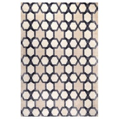 "Modern Contemporary Area Rug in Ivory Gray, Handmade Silk and Wool, ""Ambient"""