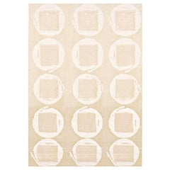 "Modern Contemporary Area Rug in Ivory, Handmade Silk, Mohair and Wool ""Calipso"""