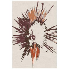 "Modern Contemporary Area Rug in Ivory Orange, Handmade of Silk and Wool ""Burst"""
