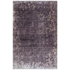 "Modern Contemporary Area Rug in Purple, Handmade of 100% Silk, ""Allure"""