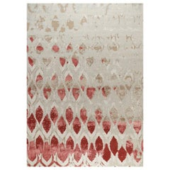 """Modern Contemporary Area Rug in Red Taupe, Handmade of Silk and Wool """"Fragment"""""""