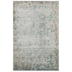 "Modern Contemporary Area Rug in Silver, Handmade of Silk and Wool, ""Allure"""