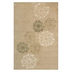 "Modern Contemporary Area Rug in Taupe, Handmade of Silk and Wool, ""Calabasas"""