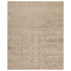 """Modern Contemporary Area Rug in Taupe, Handmade of Silk and Wool, """"Calista"""""""