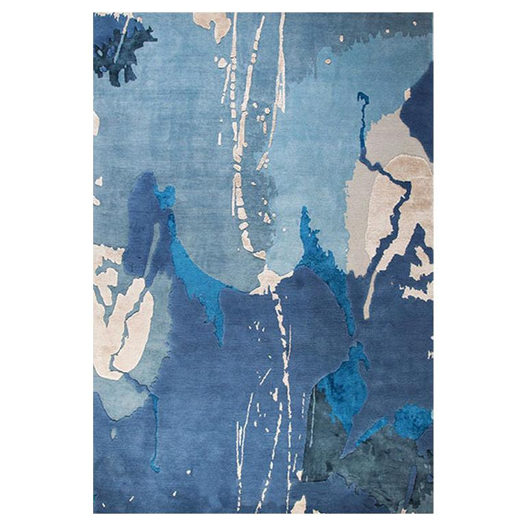"""Abstract Contemporary Area Rug in Blue, Handmade of Silk Pashmina Wool, """"Crush"""""""