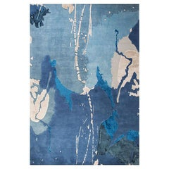"Abstract Contemporary Area Rug in Blue, Handmade of Silk Pashmina Wool, ""Crush"""