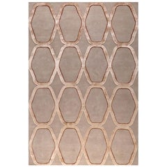 "Modern Contemporary Area Rug in Taupe, Handmade of Silk and Wool, ""Diamante"""