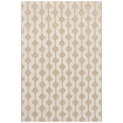 "Modern Contemporary Area Rug in Taupe, Handmade of Silk and Wool, ""Flare"""