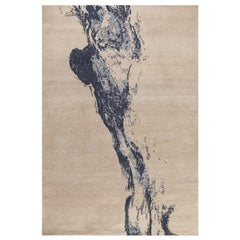 "Modern Contemporary Area Rug in Taupe, Handmade of Silk and Wool, ""Fume"""