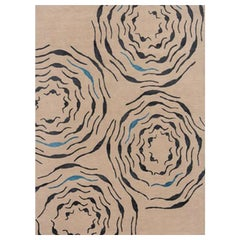 "Modern Contemporary Area Rug in Taupe, Handmade of Silk and Wool, ""Saucer"""