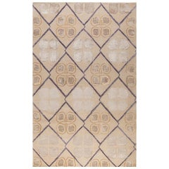 "Modern Contemporary Area Rug in Taupe Purple, Handmade of Silk and Wool ""Isabel"""