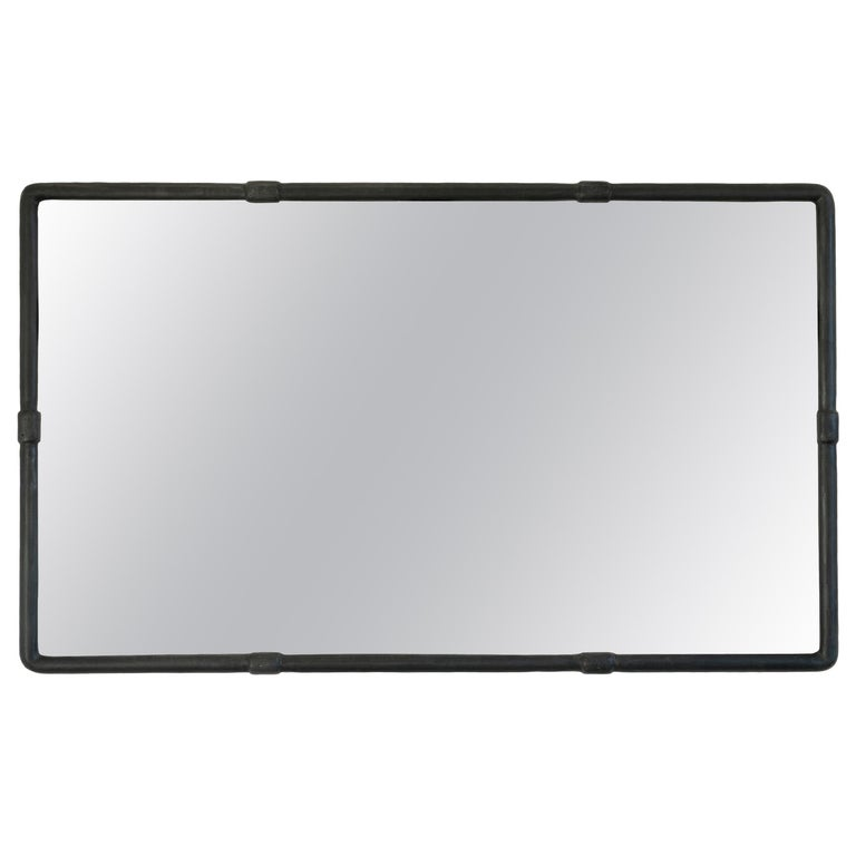 Modern Contemporary Blackened Steel with Waxed Finished Wall or Floor Mirror For Sale