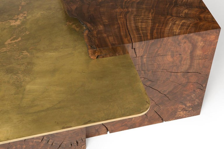 Organic Modern Modern Contemporary Brass and Claro Walnut Coffee Table by Taylor Donsker For Sale