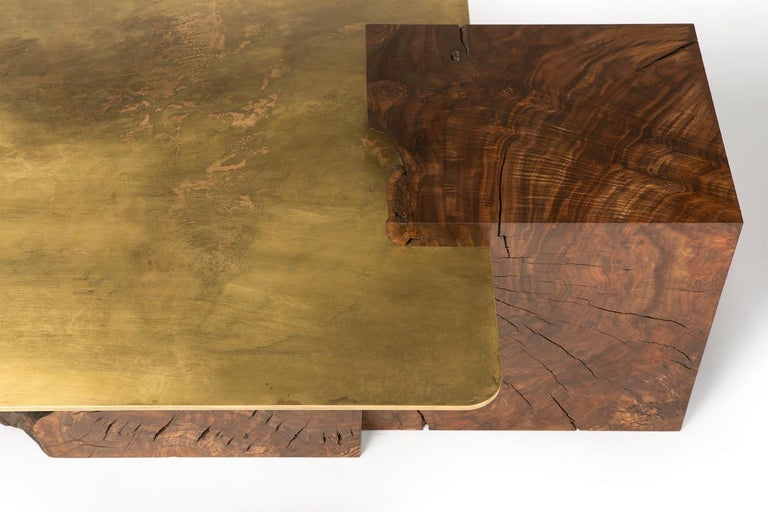 American Modern Contemporary Brass and Claro Walnut Coffee Table by Taylor Donsker For Sale