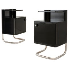Modern Contemporary Customizable Bedside Cabinets, High Gloss Lacquered Wood
