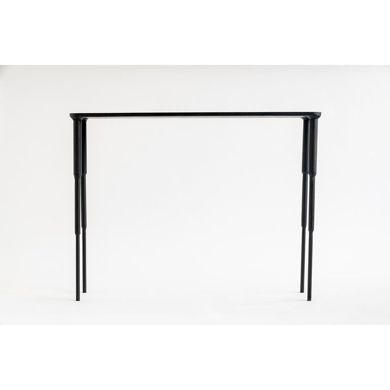 American Modern Contemporary Hand-Sculpted, Carved Black Iron Console, Entry Table For Sale