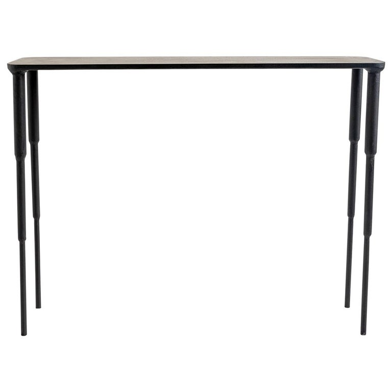 Modern Contemporary Hand-Sculpted, Carved Black Iron Console, Entry Table For Sale
