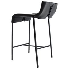 Modern/Contemporary Handmade Bar/Counter Stool in Blackened Steel and Leather