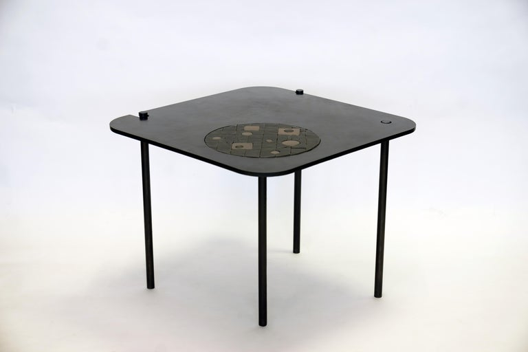 American Modern/Contemporary Handmade Blackened Steel Table with Ceramic Puzzle Inset For Sale