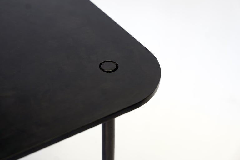 Modern/Contemporary Handmade Blackened Steel Table with Ceramic Puzzle Inset For Sale 1