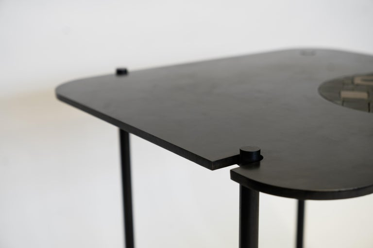 Modern/Contemporary Handmade Blackened Steel Table with Ceramic Puzzle Inset For Sale 2