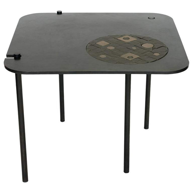 Modern/Contemporary Handmade Blackened Steel Table with Ceramic Puzzle Inset For Sale