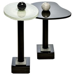 Contemporary Round  Side and Coffee Tables Murano Glass Black and White