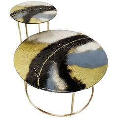 Modern Contemporary Round Coffee Tables Murano Glass in Gold, Black and Grey