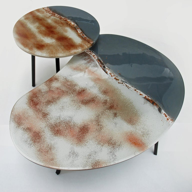 Hand-Crafted Modern Contemporary Round Coffee Tables Murano Glass in Grey, Brown and White For Sale
