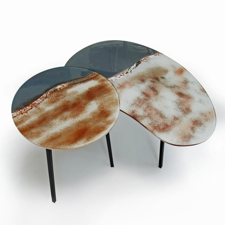 Modern Contemporary Round Coffee Tables Murano Glass in Grey, Brown and White For Sale 2