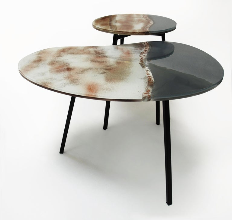 Modern Contemporary Round Coffee Tables Murano Glass in Grey, Brown and White For Sale 4