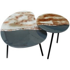 Modern Contemporary Round Coffee Tables Murano Glass in Grey, Brown and White