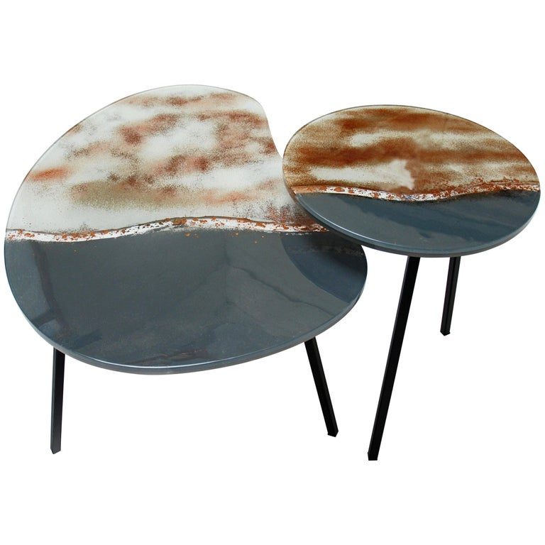 Modern Contemporary Round Coffee Tables Murano Glass in Grey, Brown and White For Sale