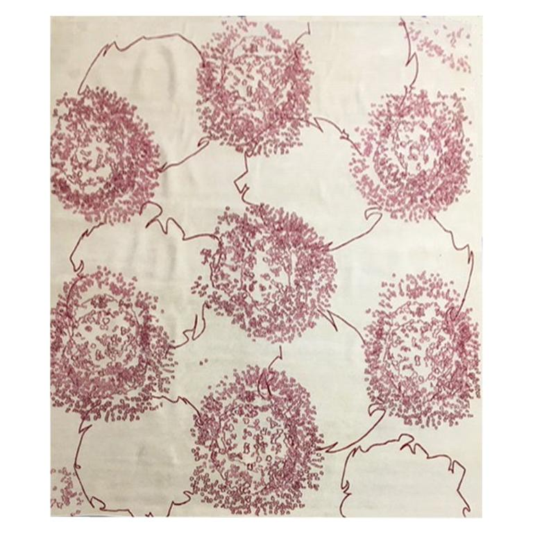 """Modern Contemporary Rug, Taupe Red, Handmade of Silk and Wool """"Zaza"""""""