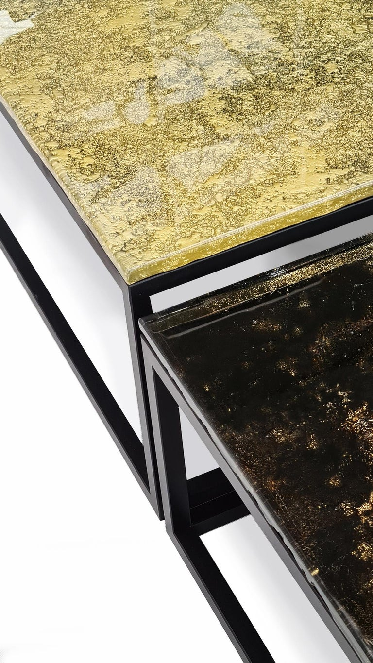 Contemporary and modern square coffee tables golden castle made of Murano kind handmade glass colored using metal oxides in gold, black and liquid metal in gold color. Limited collection signed by Edith Baranska showed for the first time in 2020.