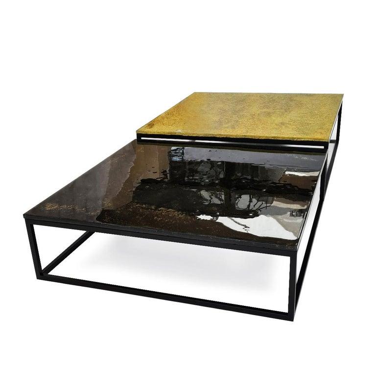 Polish Modern Contemporary Square Coffee Tables Murano Glass in Gold, Black For Sale