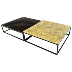 Modern Contemporary Square Coffee Tables Murano Glass in Gold, Black