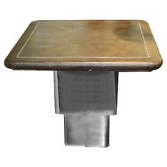Modern Convertible Shagreen & Chrome Coffee or Dining Table