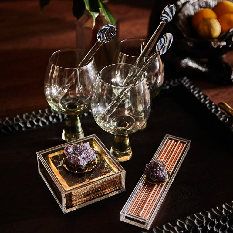 Modern Copper Straw Bar Set Presented in an Agate Decorated Lucite Box For Sale 4