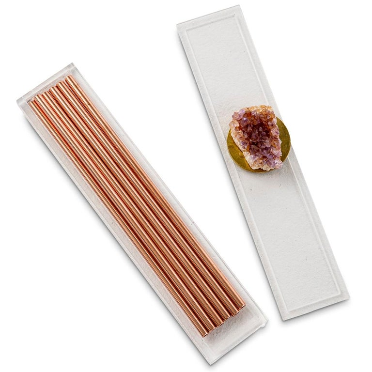 South African Modern Copper Straw Bar Set Presented in an Agate Decorated Lucite Box For Sale