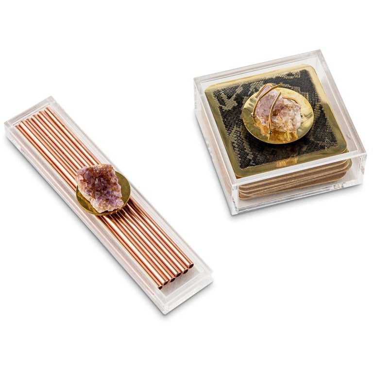 Polished Modern Copper Straw Bar Set Presented in an Agate Decorated Lucite Box For Sale