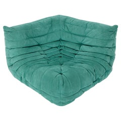 Modern Corner Element Vintage Green Sofa Togo Michel Ducaroy Ligne Roset 1970s