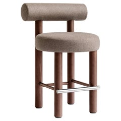 Modern Counter Chair Gropius CS2 in Wool Fabric with Wooden Legs by Noom