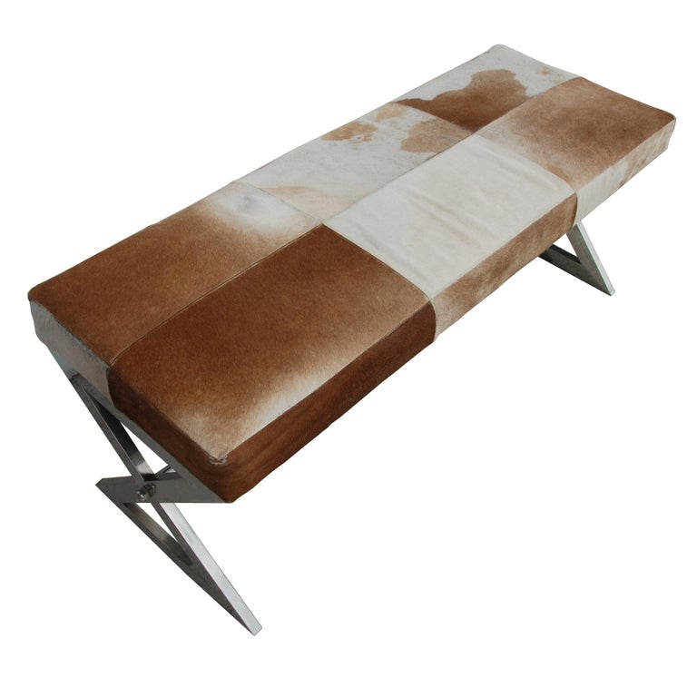 Indian Modern Cowhide Bench with Chrome Frame For Sale